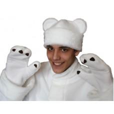 """Карнавальная шапочка """"Медведь белый+варежки для взрослых"""""""