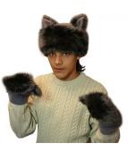 """Карнавальная шапочка """"Волк+варежки для взрослых"""""""