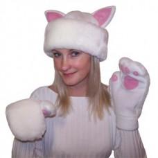 """Карнавальная шапочка """"Кошка+варежки для взрослых (2цвета)"""""""