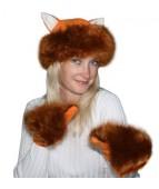 """Карнавальная шапочка """"Лиса + варежки для взрослых"""""""