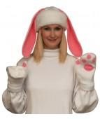 Карнавальная шапочка Зайка+варежки для взрослых