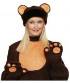 """Карнавальная шапка """"Медвежонок+варежки для взрослых"""""""