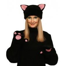 """Карнавальная шапочка """"Кошка черная+варежки для взрослых"""""""