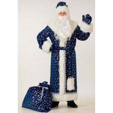 """Взрослый карнавальный костюм """"Дед Мороз синий Плюш"""""""